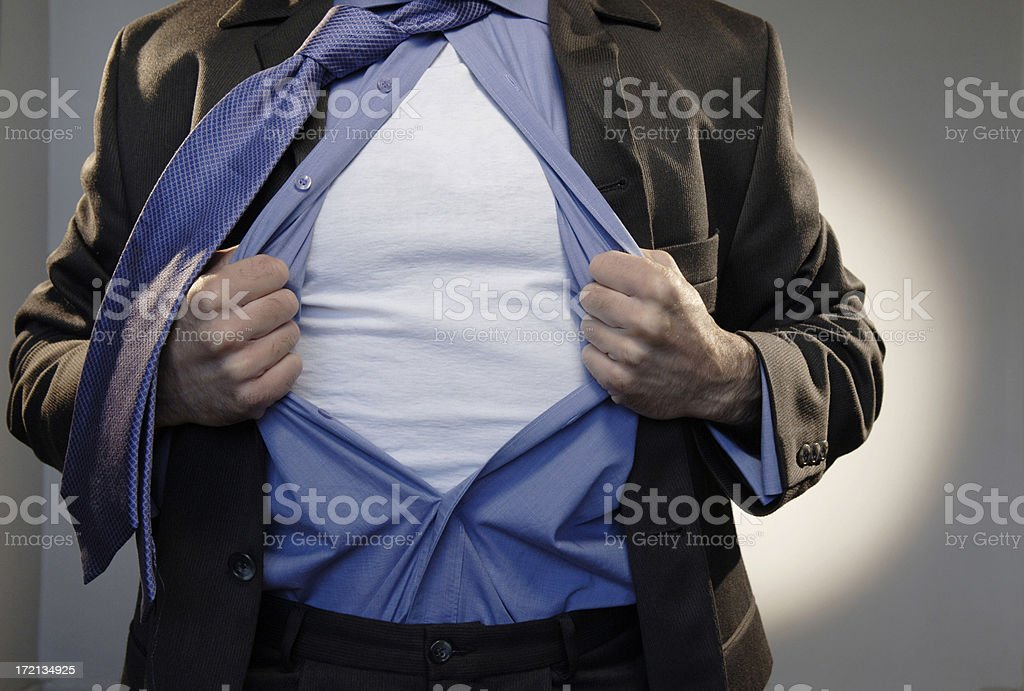 Superhero, open shirt, can add text  royalty-free stock photo