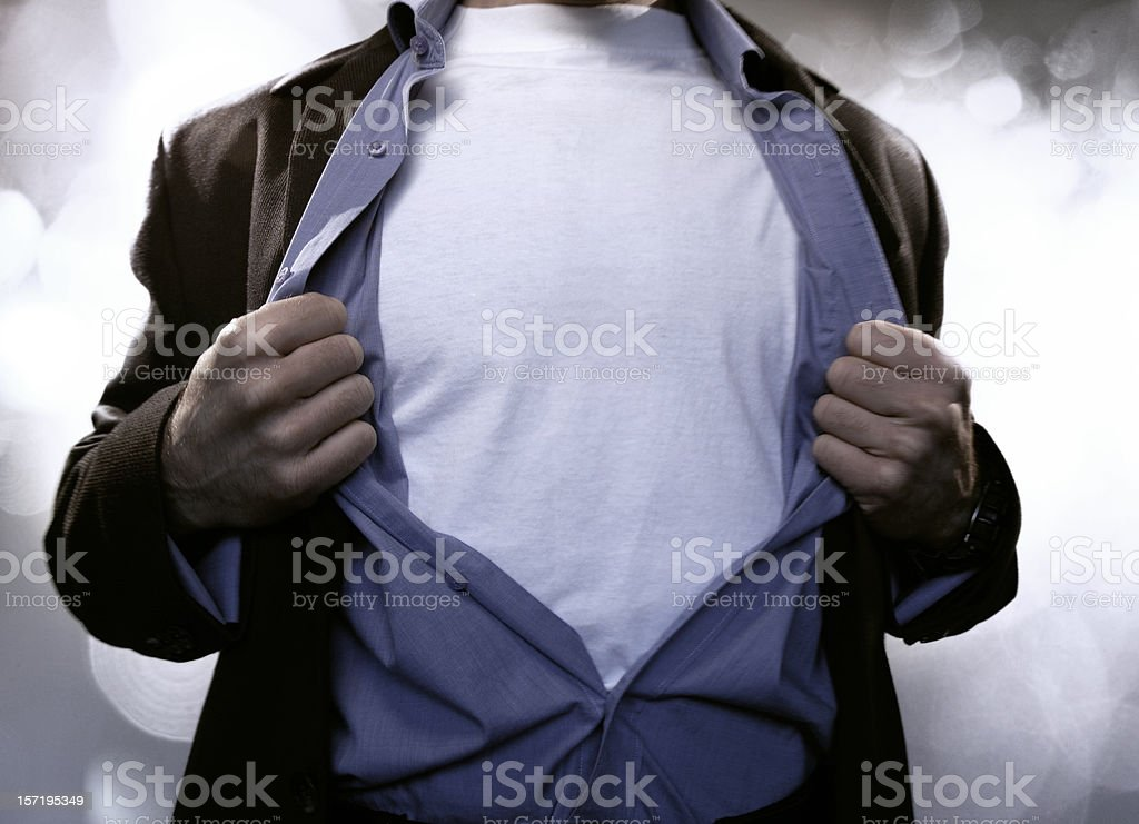Superhero Pulling Open Shirt royalty-free stock photo