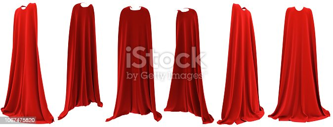 istock Superhero red cape hanging from shoulders set 1067475820