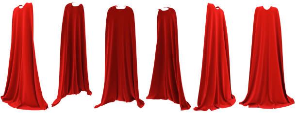Superhero red cape hanging from shoulders set Superhero red cape hanging from shoulders set isolated on white background. 3D rendering. Front, back and side view. Superpower concept. red cloth stock pictures, royalty-free photos & images