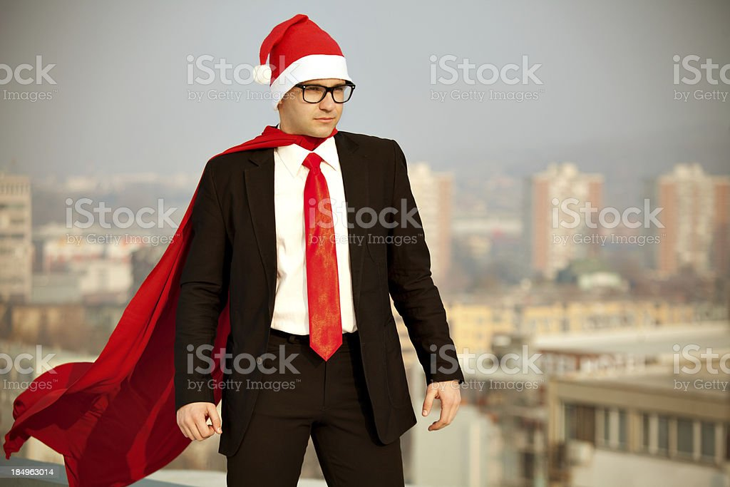 Superhero Santa Claus ready to help royalty-free stock photo