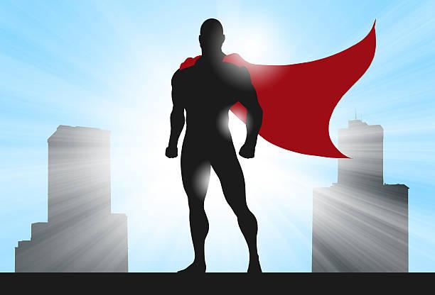 superhero silhouette city - cartoon kostüme stock-fotos und bilder
