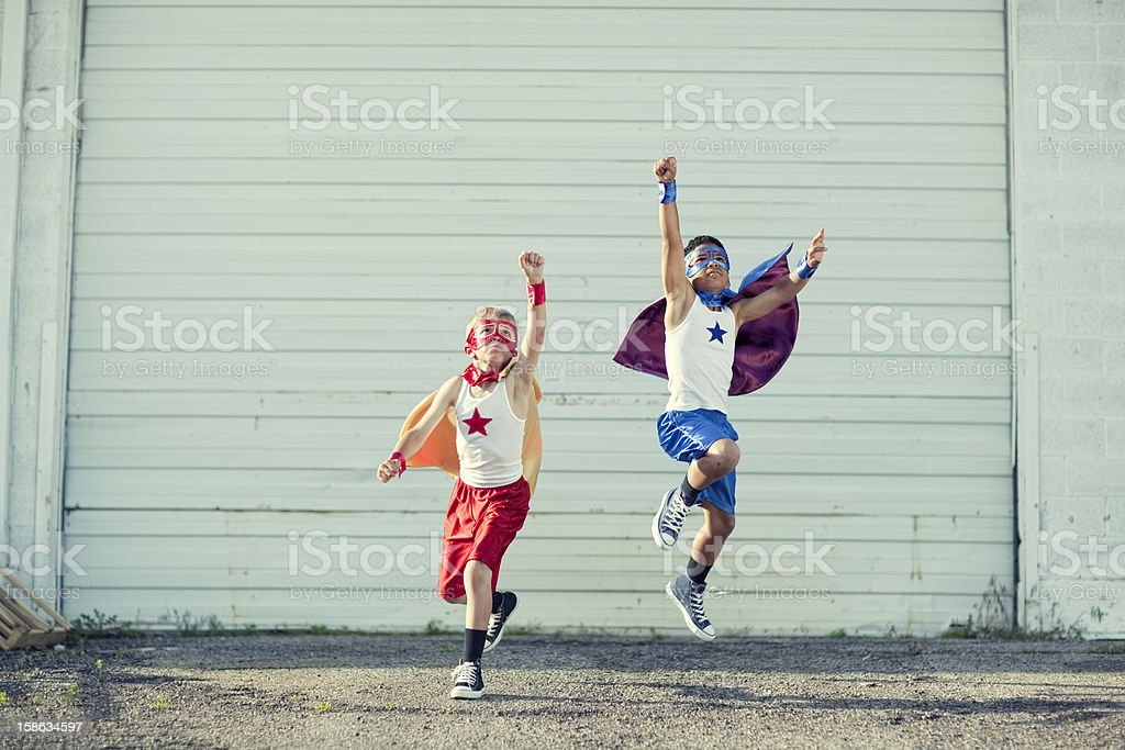 Superhero Take Off stock photo