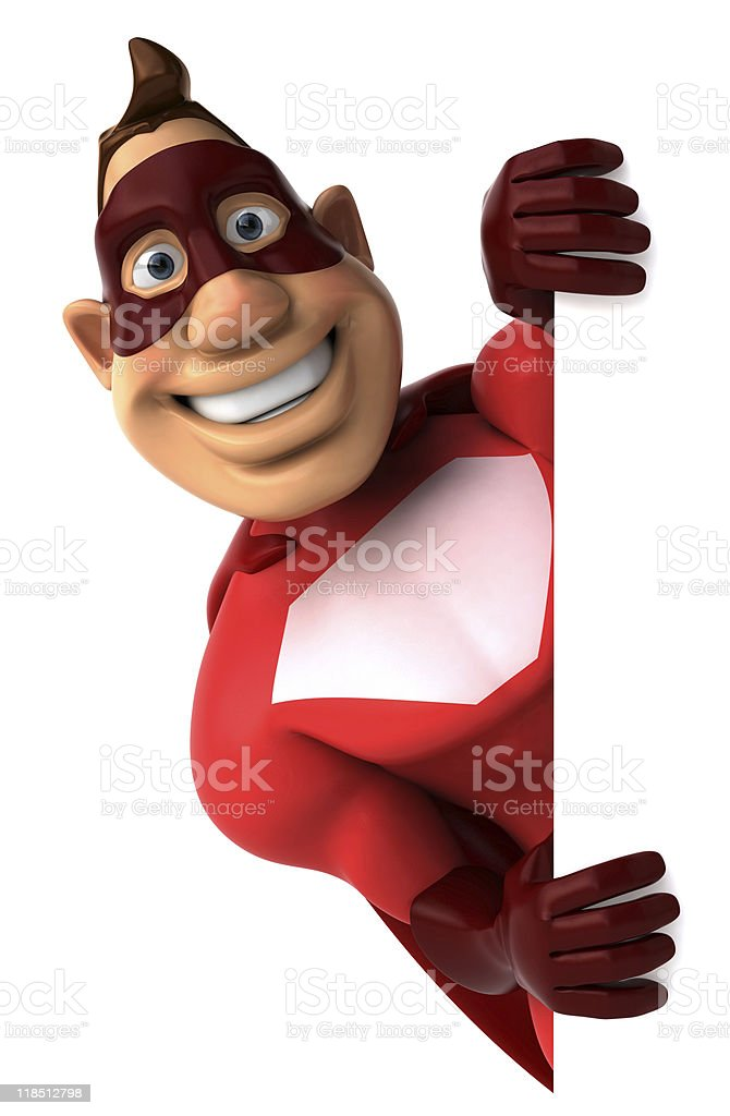 Superhero with a blank sign royalty-free stock photo
