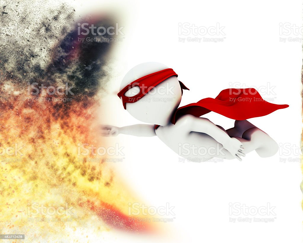 3D superhero with blast special effect stock photo
