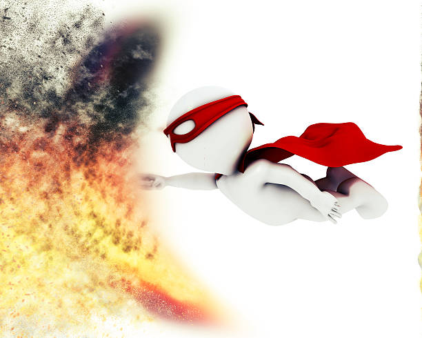 3d superhero with blast special effect - sonic boom stock photos and pictures