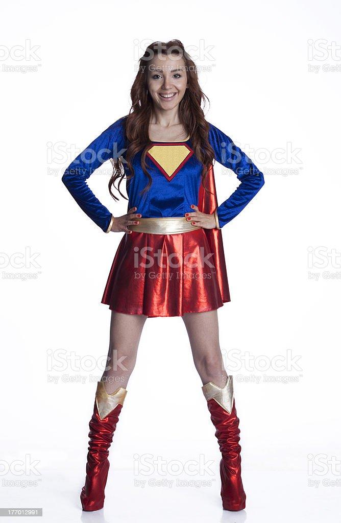 superhero woman stock photo