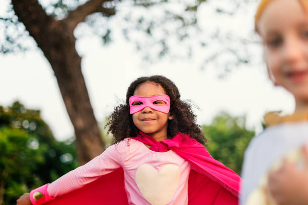 superheroes cheerful kids expressing positivity concept - superwoman barn bildbanksfoton och bilder