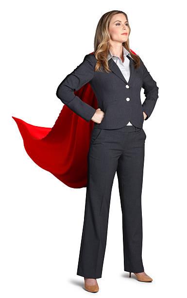 superhoero geschäftsfrau, isoliert auf weißem hintergrund - damen umhänge stock-fotos und bilder