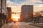 Superior Avenue in downtown Cleveland Ohio at sunset