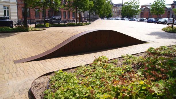 Superkilen park in N rrebro district, skateboard park stock photo