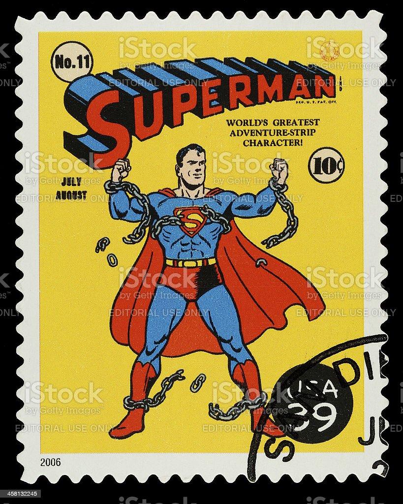 Superman Superhero Postage Stamp stock photo