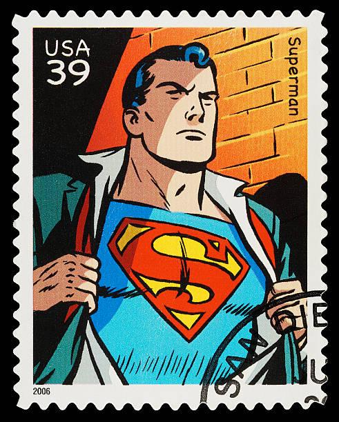 superman-superhero briefmarke - cartoon kostüme stock-fotos und bilder