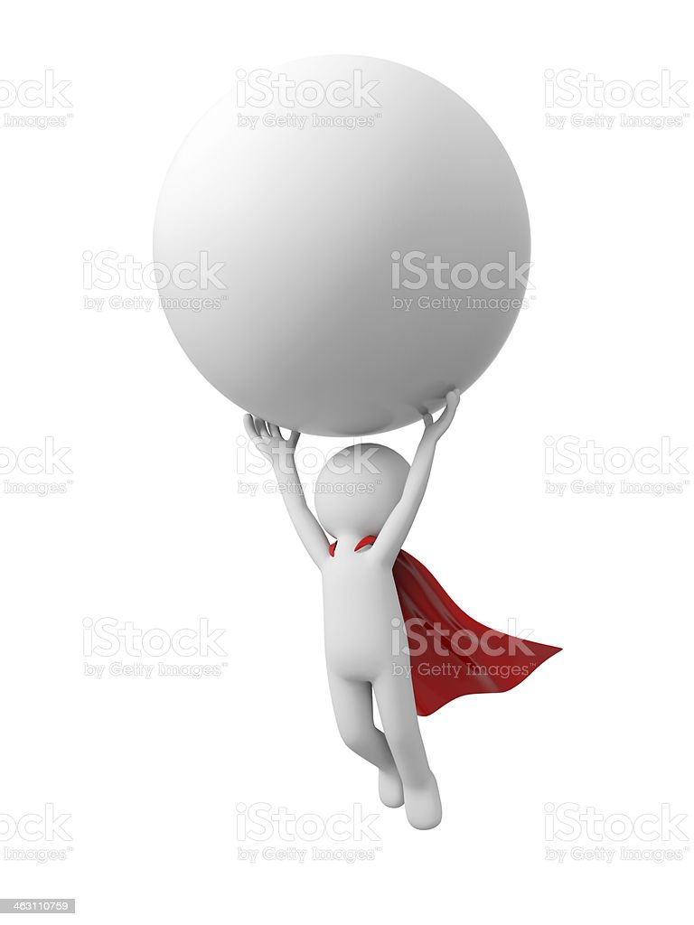 Superman with ball royalty-free stock photo