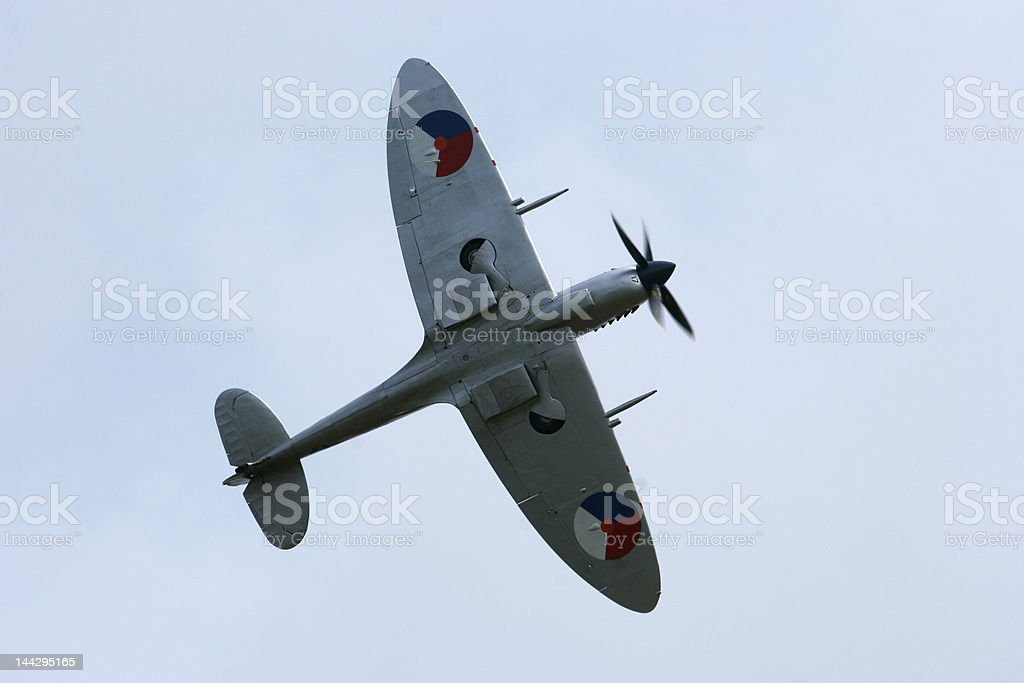 Supermarine Spitfire in flight. stock photo