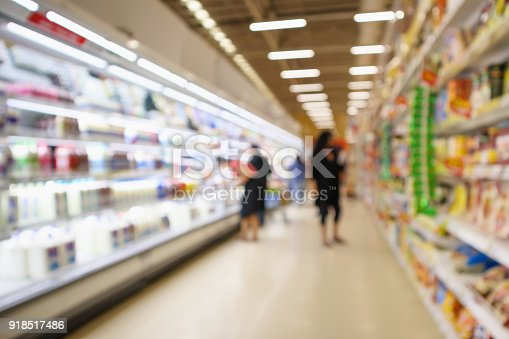 836871040 istock photo Supermarket Aisle and Shelves with dairy products in refrigerator blur background 918517486
