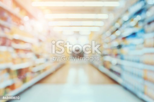 istock Supermarket aisle blur abstract background 843469610
