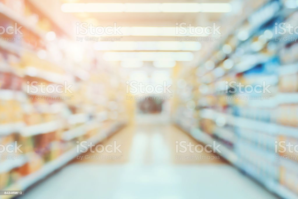 Supermarket aisle blur abstract background stock photo