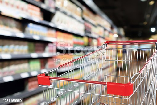 922721264 istock photo supermarket aisle blurred background with empty red shopping cart 1031169950