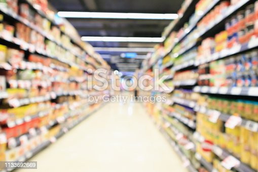 968898244 istock photo supermarket aisle interior with product shelves abstract blur background 1133692669