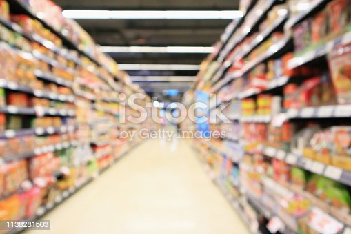 968898244 istock photo supermarket aisle interior with product shelves abstract blur background 1138281503