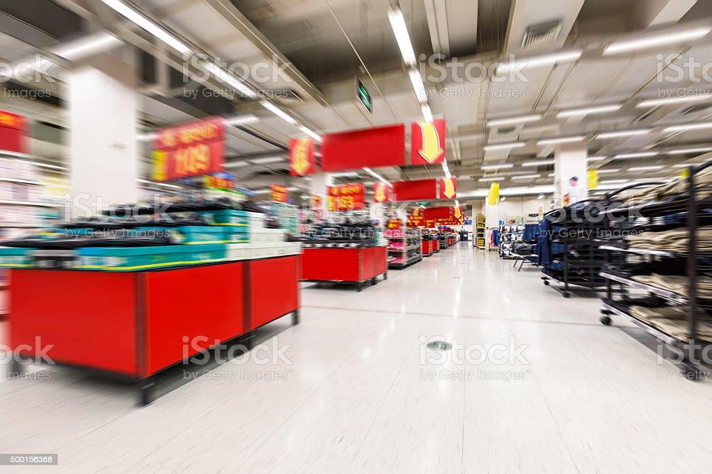 supermarket aisle Motion Blur background stock photo