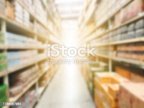 922721264 istock photo Supermarket aisle with product shelves abstract blur defocused background. 1188587984