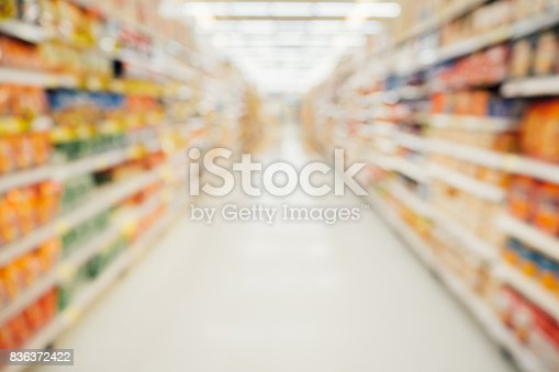 836871040 istock photo Supermarket aisle with product shelves abstract blur defocused background 836372422