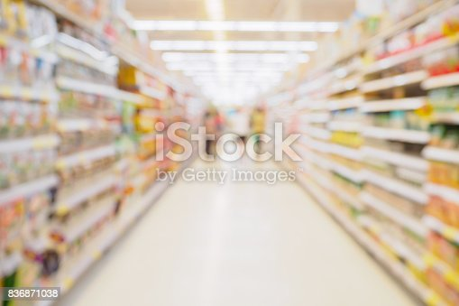 836871040 istock photo Supermarket aisle with product shelves abstract blur defocused background 836871038