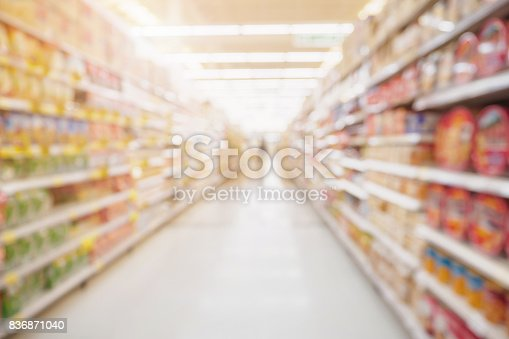 836871040 istock photo Supermarket aisle with product shelves abstract blur defocused background 836871040