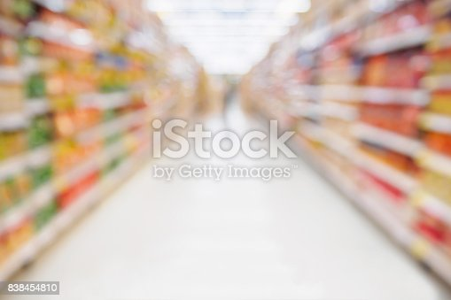 836871040 istock photo Supermarket aisle with product shelves abstract blur defocused background 838454810