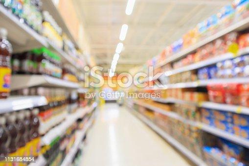 968898244 istock photo supermarket aisle with product shelves interior defocused blur background 1131684854