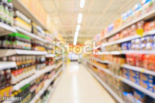 968898244 istock photo supermarket aisle with product shelves interior defocused blur background 1132152511