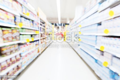 836871040 istock photo Supermarket aisle with products on shelves blurred abstract background 1215843947