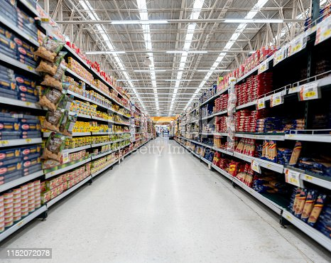 Supermarket aisle with shelfs full of a variety of products - Business concepts
