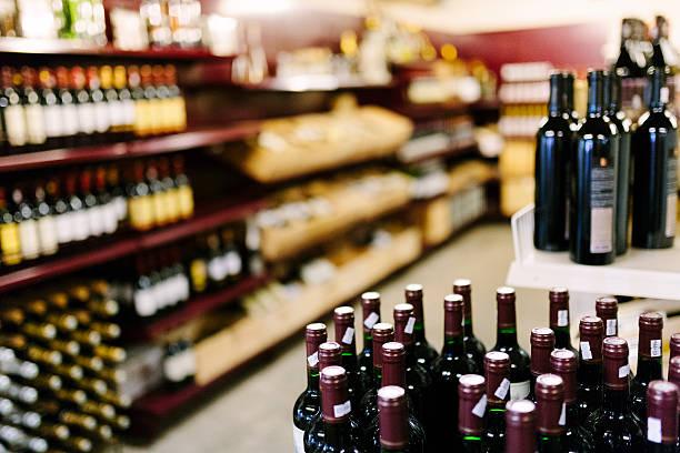 Supermarket, alcoholic drinks stock photo