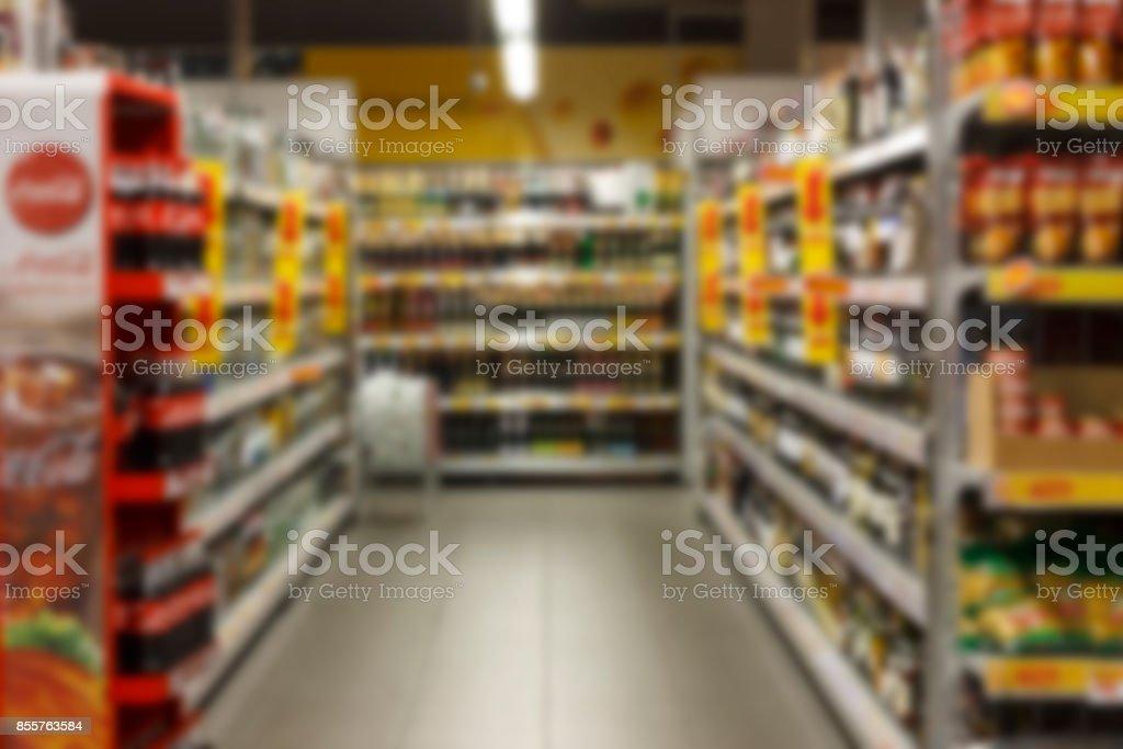 Supermarket blurred background super store stock photo