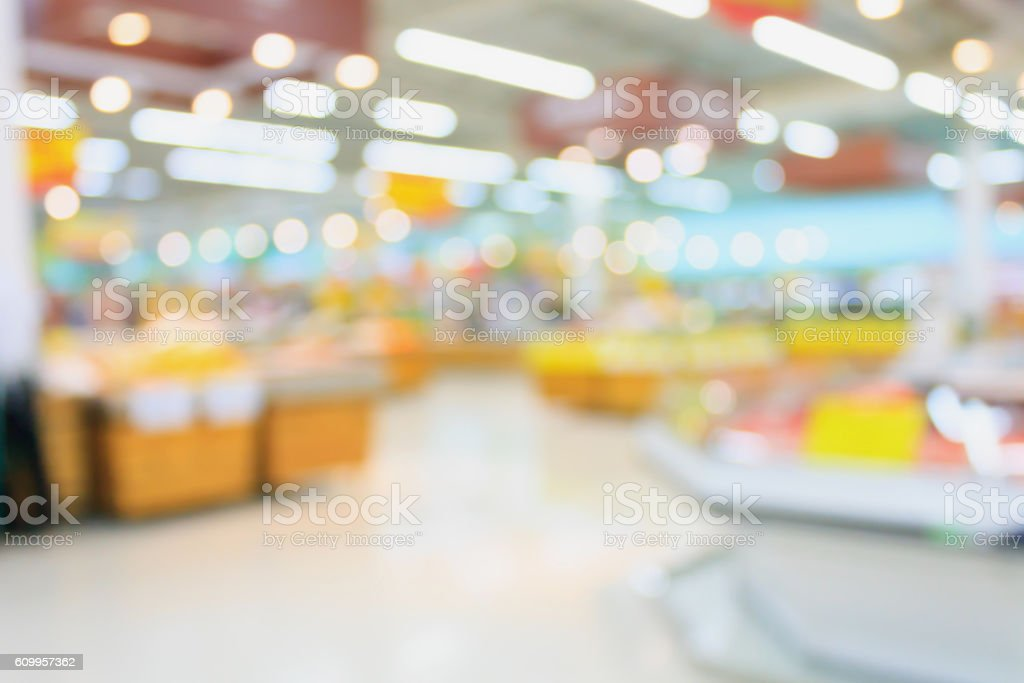 Supermarket blurred background with bokeh stock photo