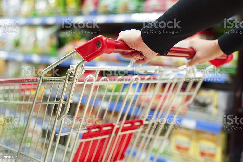 supermarket cart stock photo