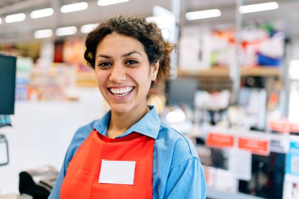 Supermarket cashier stock photo