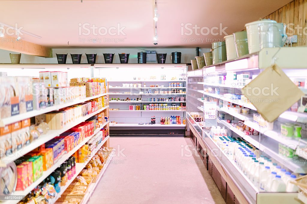 Supermarket, dairy aisle stock photo