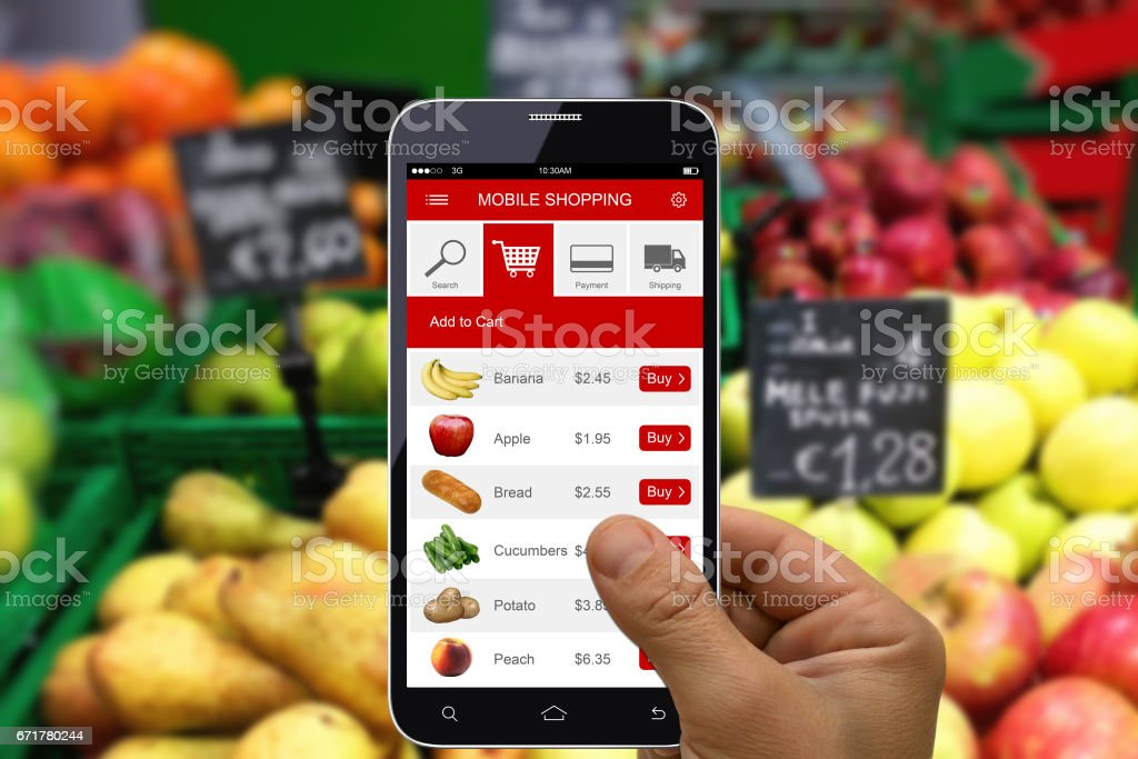 Supermarket e-commerce mobile phone shopping app stock photo