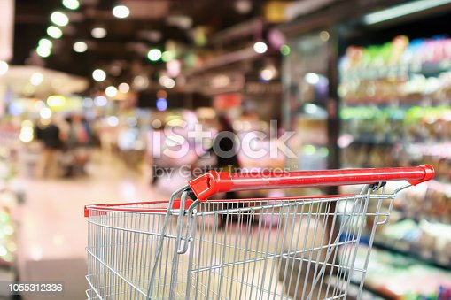 922721264 istock photo supermarket grocery store with fruit and vegetable shelves interior defocused background with empty red shopping cart 1055312336