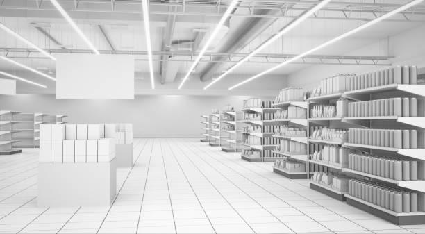 supermarket interior with banners and products - icona supermercato foto e immagini stock