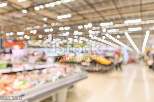 istock supermarket interior with grocery product blurred defocused background with bokeh light 1072974214
