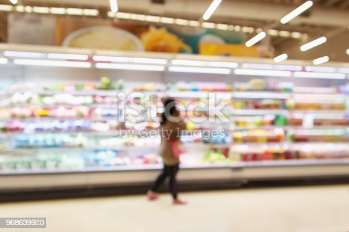 922721264 istock photo Supermarket refrigerator shelves with fruit juice soft drink product abstract blur background 968639920