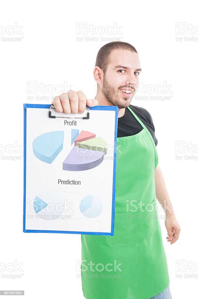 Supermarket seller showing profit and prediction statistics stock photo