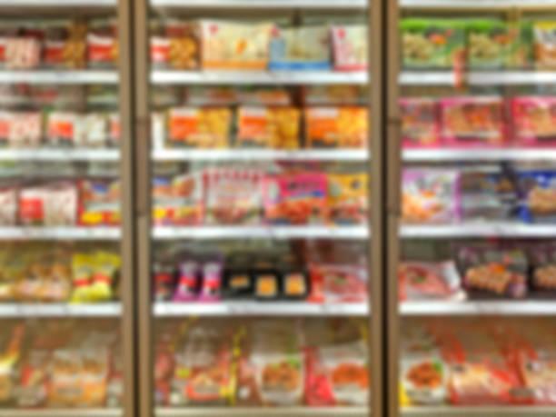 슈퍼마켓 셸프 defocus 배경기술 - 냉동식품 뉴스 사진 이미지
