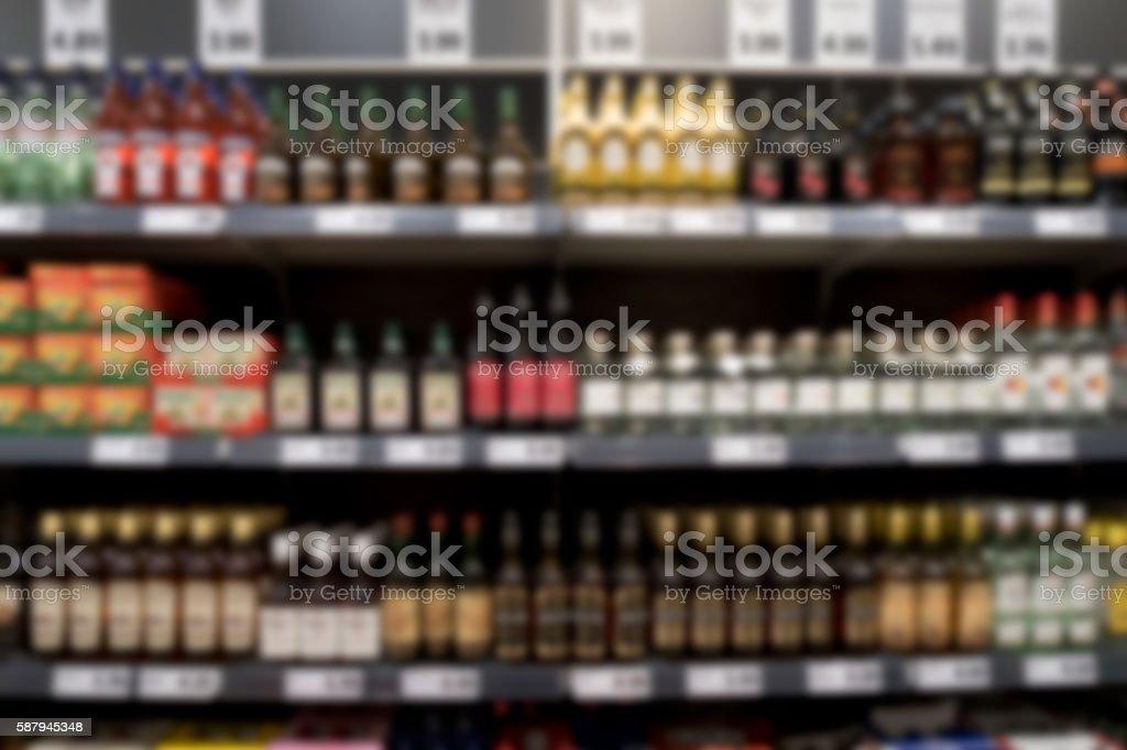supermarket shelf with spirits and wine foto