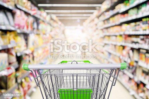 922721264 istock photo supermarket shelves aisle with empty shopping cart defocused interior blur bokeh light background 1009742732